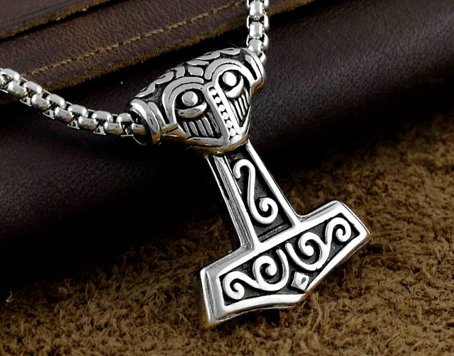Mens jewelry silver stainless steel thors viking hammer mjolnir mens jewelry silver stainless steel thors viking hammer mjolnir pendant necklace aloadofball Images