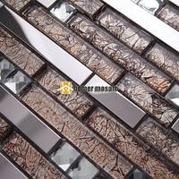 strip brown glass mixed stainless steel metal mosaic for bathroom shower tiles kitchen backsplash tiles HMEE006