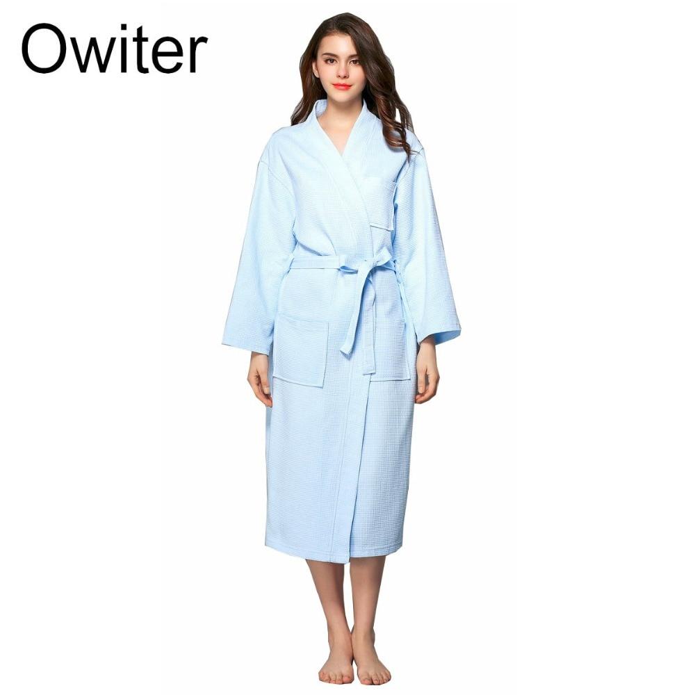 Owiter Womens Waffle Robe kimono bathrobe Knee-Length Nightwear Sleepwear Cotton Kimono Bathrobe With Pocket Spring Bath Robe
