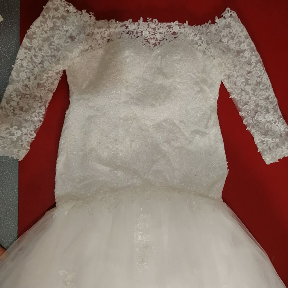 Image 4 - Fansmile New Long Sleeve Vestido De Noiva Lace Wedding Dress 2019 Customized Plus Size Pearls Bridal Wedding Gowns FSM 512M-in Wedding Dresses from Weddings & Events