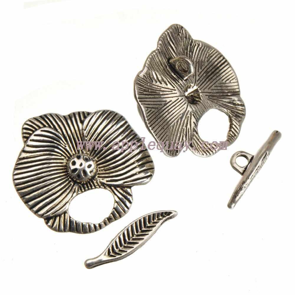 Diyトグルフックブレスレットクラスプジュエリー素材ヴィンテージ銀大花葉バー金属ジュエリーアクセサリー新しい10セット
