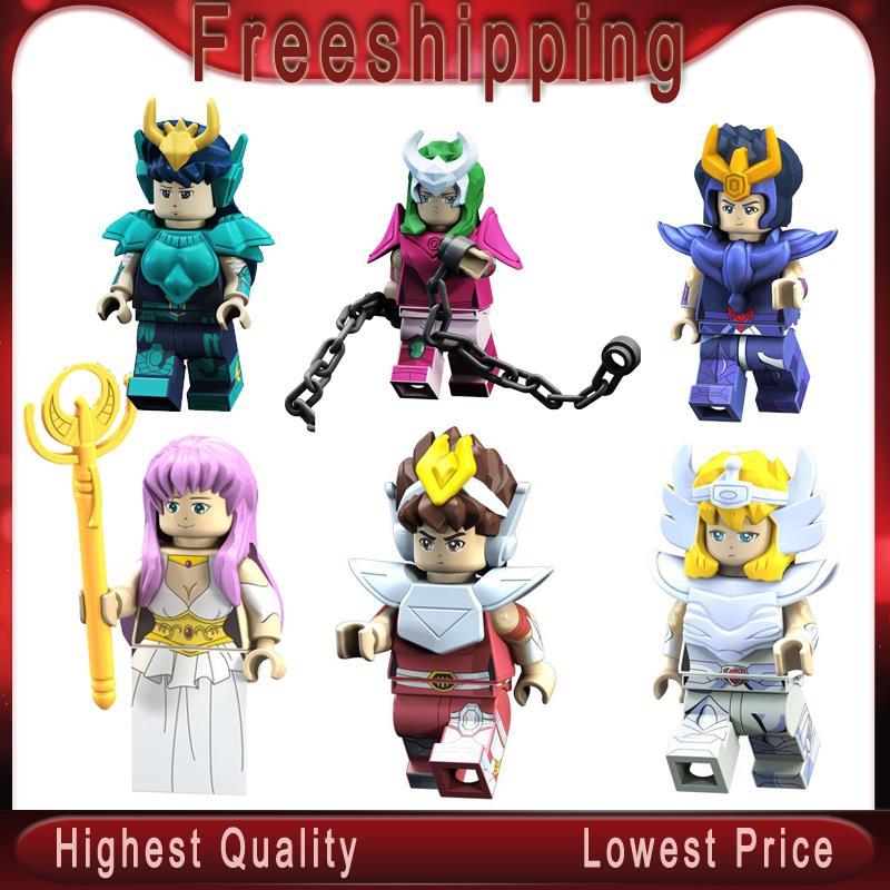 Single Sale Saint Seiya Super Heroes Knights Of The Zodiac Athena Shiryu Glacier Tutankhamu Building Blocks Children Toys PG8128
