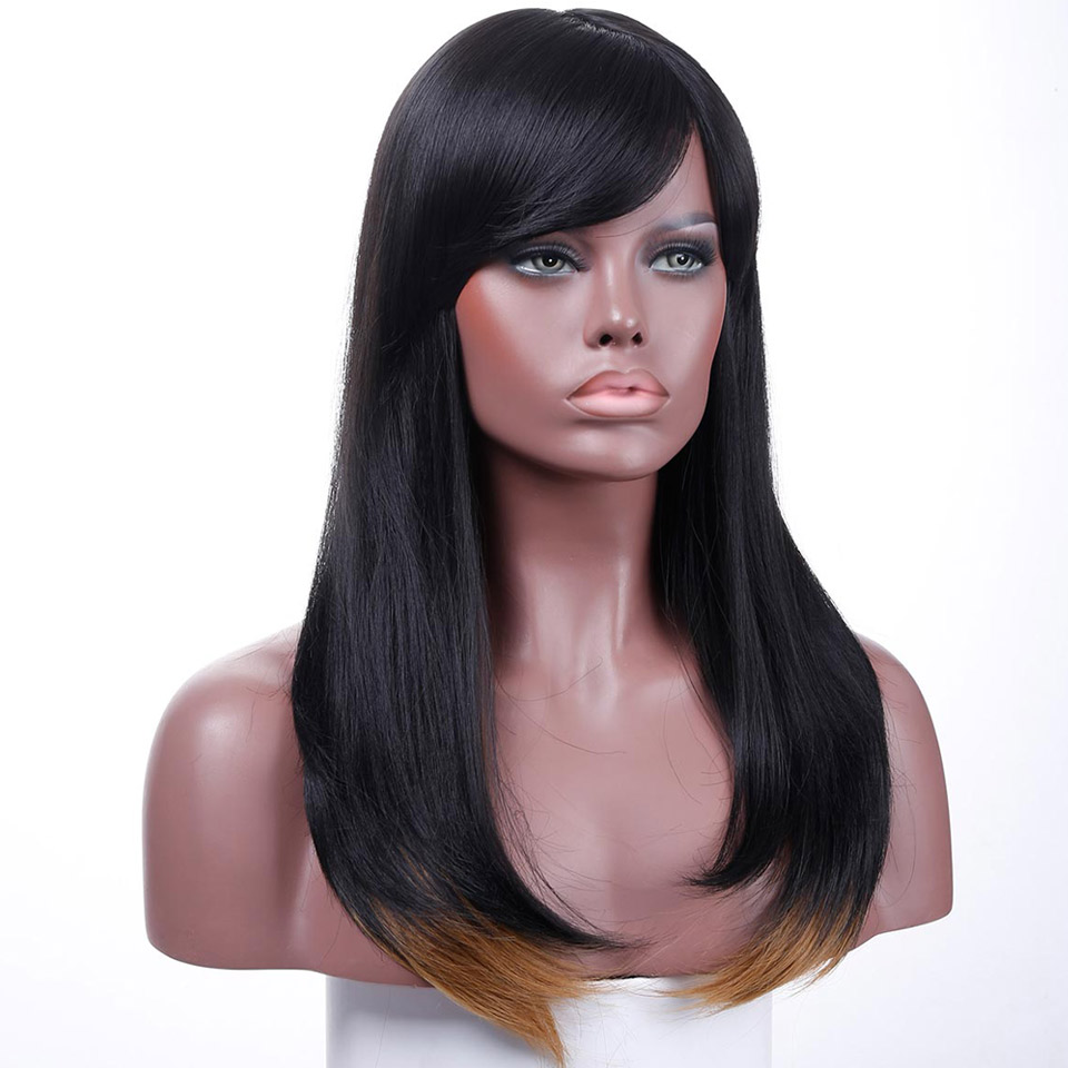 JINKAILI WIG Black Long Straight With Bangs Cosplay Party Heat Resistant Synthesis Ombre Brown Wigs For Women