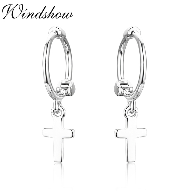 Cute 925 Sterling Silver Tiny Cross Charms Circles Small Loops Huggie Hoops Earrings For Women Jewelry