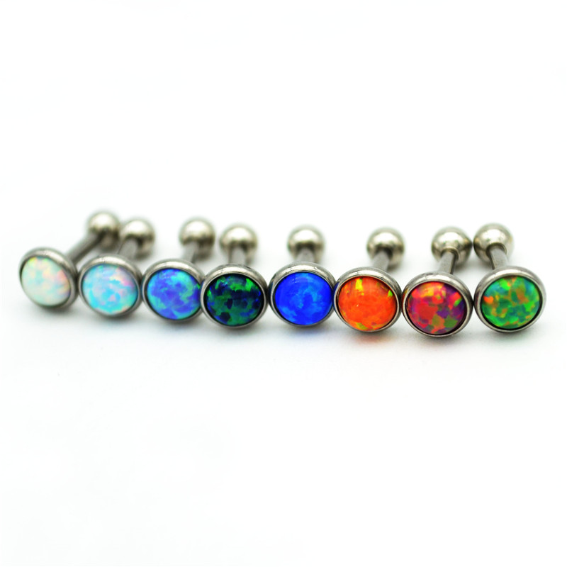 Turquoise Fake Ear Plug Tunnels Cartilage Ring Tragus Stretcher Ear Stud Earring Body Piercing Jewelry Opal Stone 3mm 4mm 5mm