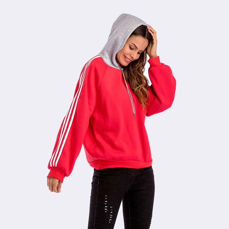 SimAi Mode Rayé Femmes Sweat-Shirts À Capuche 2018 Automne Hiver décontracté D'épissure grande taille Harajuku À Manches Longues Coton Pulls