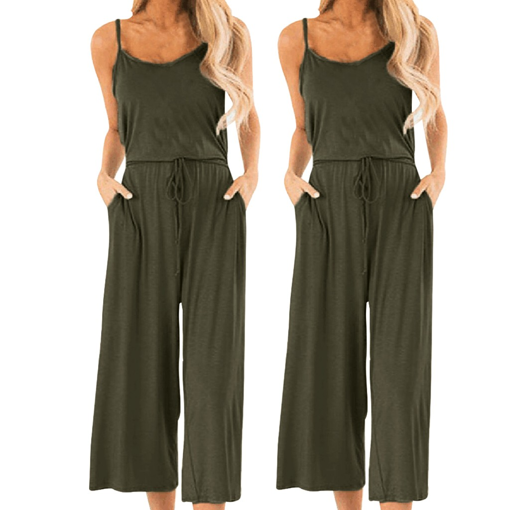 Women Casual Jumpsuit Summer Women's Supersoft Solid Elastic Rope Sleeveless Camisole Wide-Leg Jumpsuit Overalls For Women