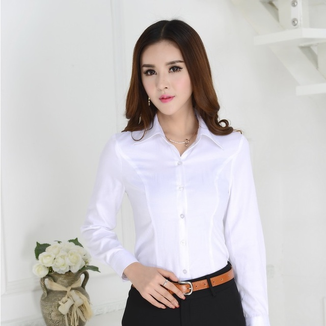 New 2018 Autumn Fashion White Shirts Women Long Sleeve Solid Formal Ol Las Office Uniform