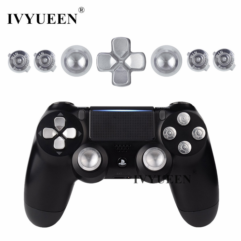 IVYUEEN Para Playstation Dualshock 4 PS4 Pro Slim Controlador Silver Metal Analógico Thumb Sticks Dpad 9mm Bullet Botones Mod Kit