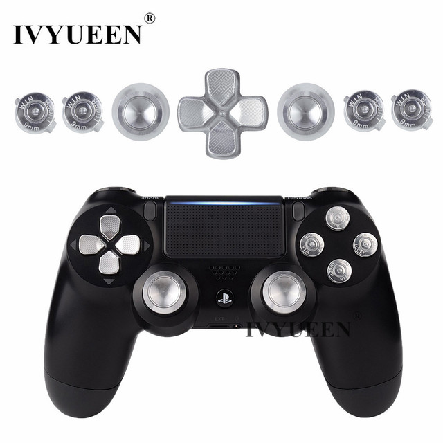 US $5 2 7% OFF|IVYUEEN For Playstation Dualshock 4 PS4 Pro Slim Controller  Silver Metal Analog Thumb Sticks Dpad 9mm Bullet Buttons Mod Kit-in