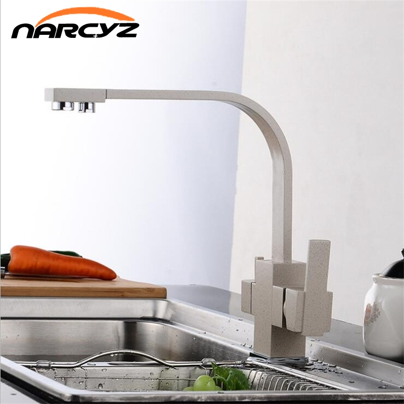Multifunctional Black Kitchen Faucet 3 way Drinking Water Cranes Hot&Cold Water Mixer Tap Antique Chrome Pure Water FaucetsXT-51 narcyz drinking water filter faucet deck mounted mixer valve chrome single hole purifier 3 way water kitchen faucet mixer xt 32