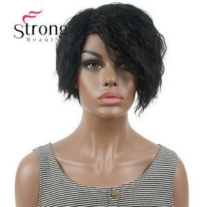 Image 2 - Strong beauty perruque Bob asymétrique courte, perruque synthétique complète, noire, ondulée, duveteuse