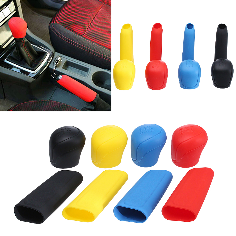 uxcell Pink Rubber Car Nonslip Round Hand Brake Head Cover Gear Shift Knob Stick Protector