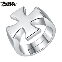 ZABRA Authentic 925 Sterling Silver Open Cross Men Ring Vintage Punk Biker Jewelry Christian Accessory Rings For Man Male Anel