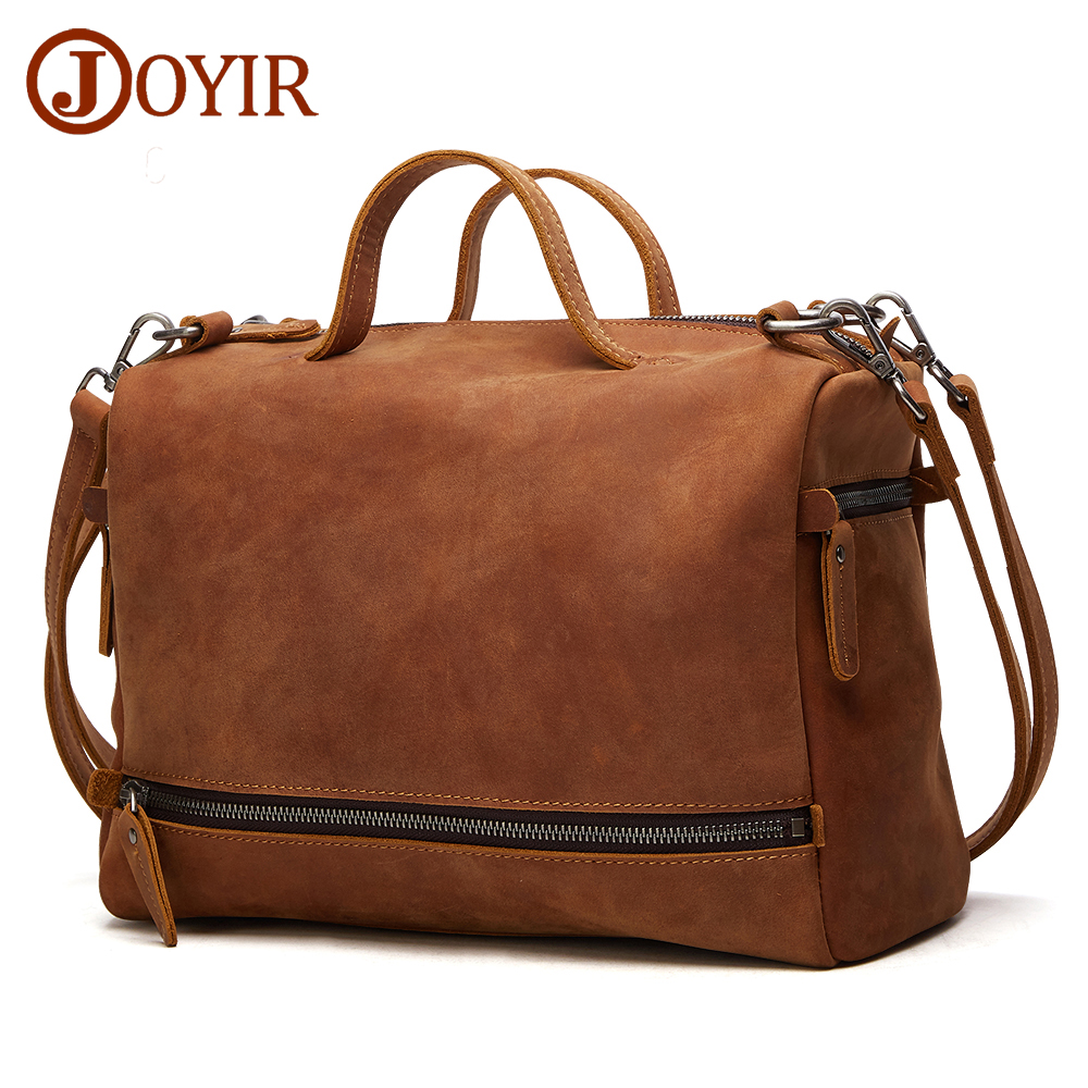 JORIR Genuine Leather Shoulder Bags For Women Crazy Horse Leather Crossbody Bags 12 inch Laptop Casual Totes Messenger Bags