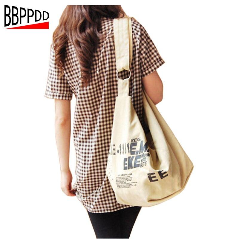 Bbppdd Для женщин Холст Crossbody сумка 2018 новый большой Ёмкость письмо высокое Класс Повседневное Винтаж Для женщин сумка Курьерские сумки