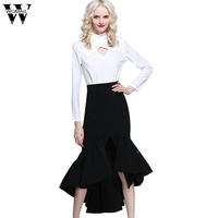 2017 Dressever European And American Style Women S High Waist Hip Fishtail Ruffles Patchwork Elegant Skirts