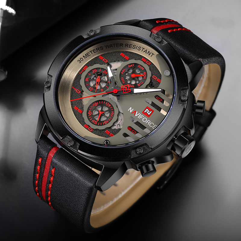 NAVIFORCE Luxury Brand Men's Sport Watches Men Leather Quartz Watch Waterproof Date Clock Military Wrist Watch relogio masculino зеркало ellux rubico rub b2 0216
