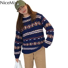 hot deal buy nicemix casual vintage sweater women argyle pullovers o-neck winter knitwear autumn jumper korean woman clothes pull femme hiver
