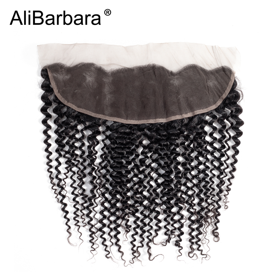 Alibarbara Hair 13x4 Peruvian Kinky Curly Lace Frontal Closure Free Part Ear to Ear Can be Bleach Knots Human Remy Hair