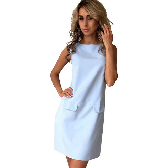 0e587907e6c2a Summer Casual Women Dress Sleeveless O-neck Sexy Office Dress Vestidos  Girls Mini Dresses LJ9075E
