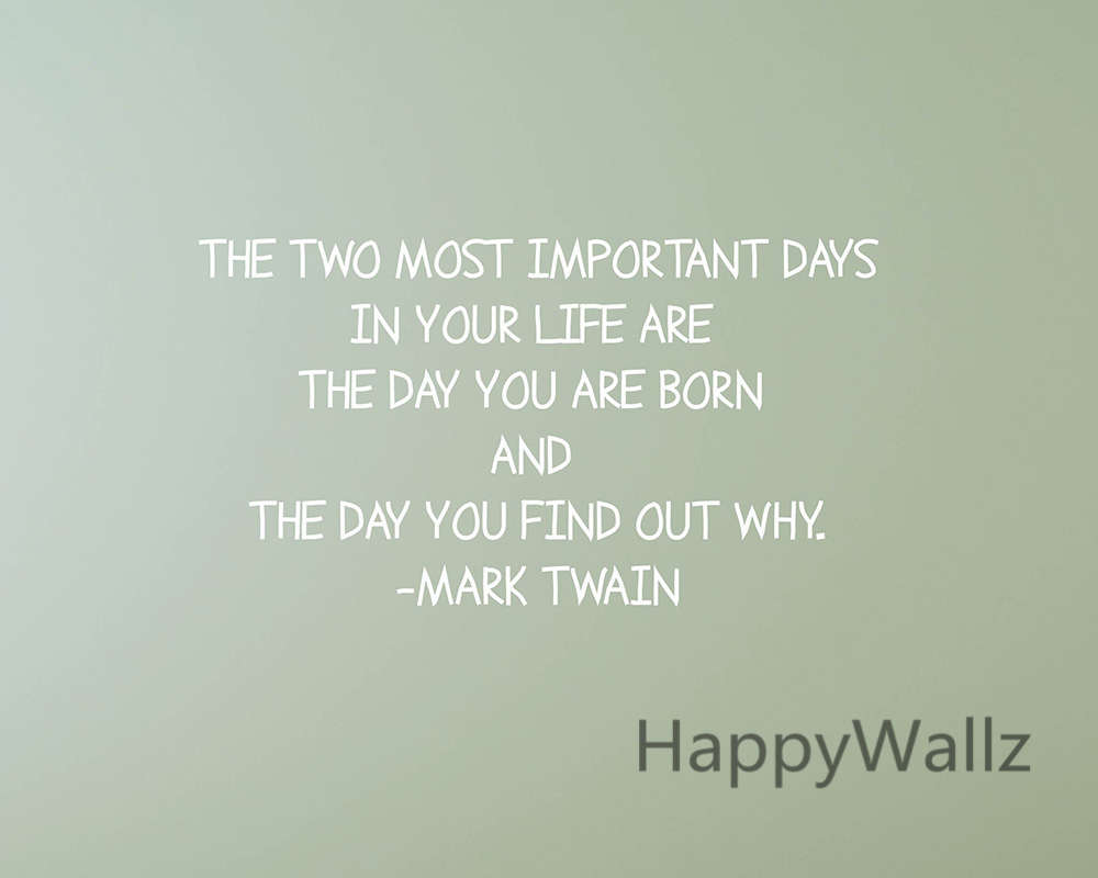 the two most important days motivational quote wall sticker diy