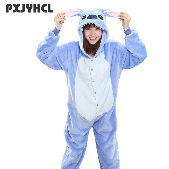 Adult Blue Stitch Kigurumi Onesie Women Girl Fancy Ainme Cosplay Costume Party Cartoon Pig Animal Jumpsuit Home Suit Pajamas