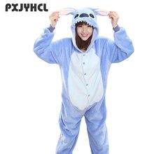 Adulto Blu Stitch Kigurumi Tutina Delle Donne Della Ragazza Fancy Ainme Cosplay Costume Del Partito Del Fumetto Maiale Animale Della Tuta di Casa Pigiama Tuta