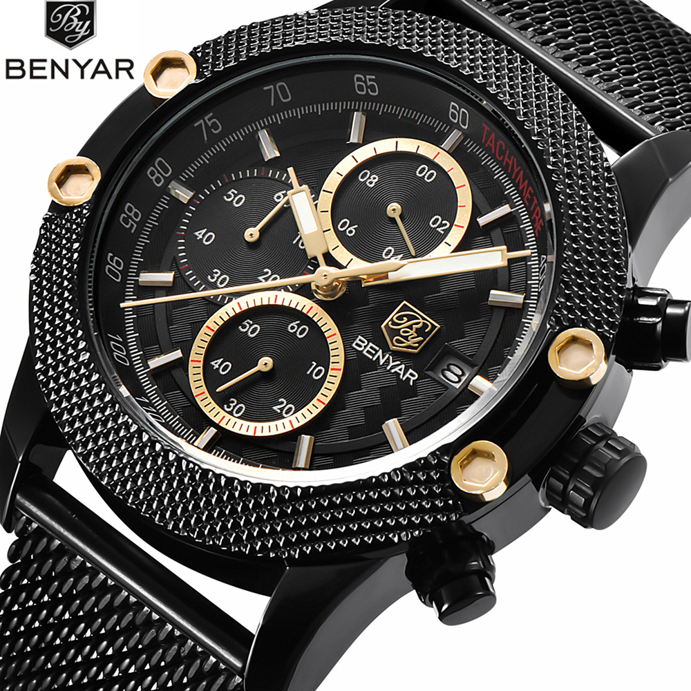 BENYAR Watch Men Quartz Chronograph Watches Business Casual Clock Mesh Steel Armbåndsur Steel Band Vanntett Watch Menn Saat