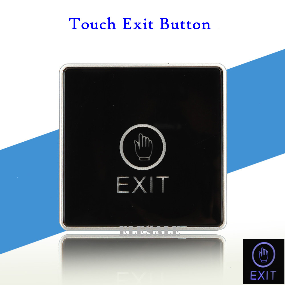 New Push Exit Touch Button With Blue Backlight NO NC COM Output Door Release Switch For RFID Access Control System button infrared sensor no nc no touch push switch for door access control system door square ir exit button switch cm127