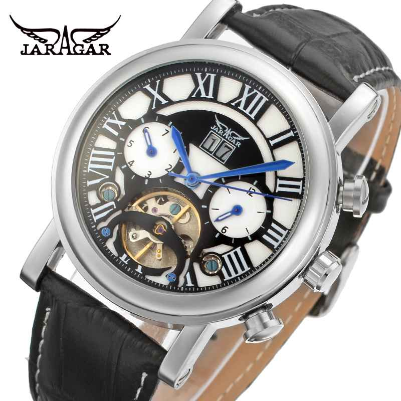 JARAGAR Tourbillon Men's Watches Classic Dial Day Date Functional Automatic Wristwatch Men Mechanical Watch Dress Clock jaragar top brand tourbillon automatic mechanical diamond dial clock wtaches men classic luxury business leather wristwatch uhr