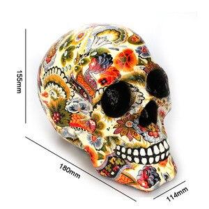 Image 5 - Dropshipping di trasporto del Nuovo Creativo Statue Del Fiore di Colore Della Resina Del Cranio Decorazione Scrivania Giocattolo Regalo Di Compleanno Decorazione Del Partito di Halloween