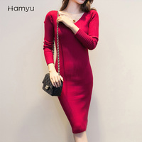 New Women Autumn Sexy Knitting Dress Pure Color V Neck Long Dresses Women Long Sweater Dress