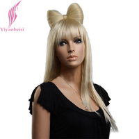 Yiyaobess 22 inch Lange Blonde Pruik Met Vlinder Knot Synthetisch Steil Haar Pruiken Voor Afrikaanse Afrikaanse Vrouwen