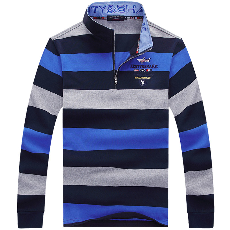 New Brand Autumn Men Long Sleeve Embroidery Cotton Striped Sharked   T     shirt   Homme Smart Breathable Casual Men's Cotton   T     shirt