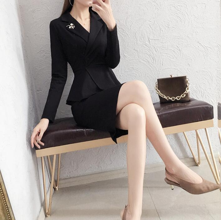 38082ca456 Elegant Dress Suits Women Vintage England Style Business Wear Work Set For  Office Lady Formal Sexy V Neck Jacket Blazer Clothes