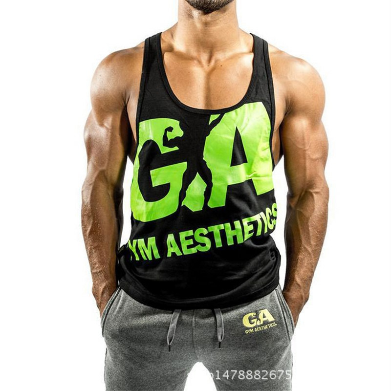 Golds   Tank     Top   Men bodybuilding Stringer Gymwear Singlet Fitness Sleeveless shirt Muscle Vest Quick drying   Tank     Top