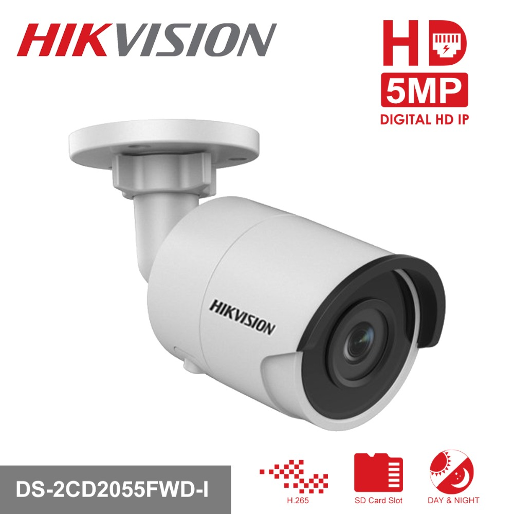 Hikvision HD CCTV IP Camera PoE DS-2CD2055FWD-I 5 Megapixel WDR Network Mini Bullet IP Camera H.265 Replace DS-2CD2052-I in stock hikvision full hd 1080p security ip camera ds 2cd1141 i 4 megapixel cmos cctv dome camera poe replace ds 2cd3145f i