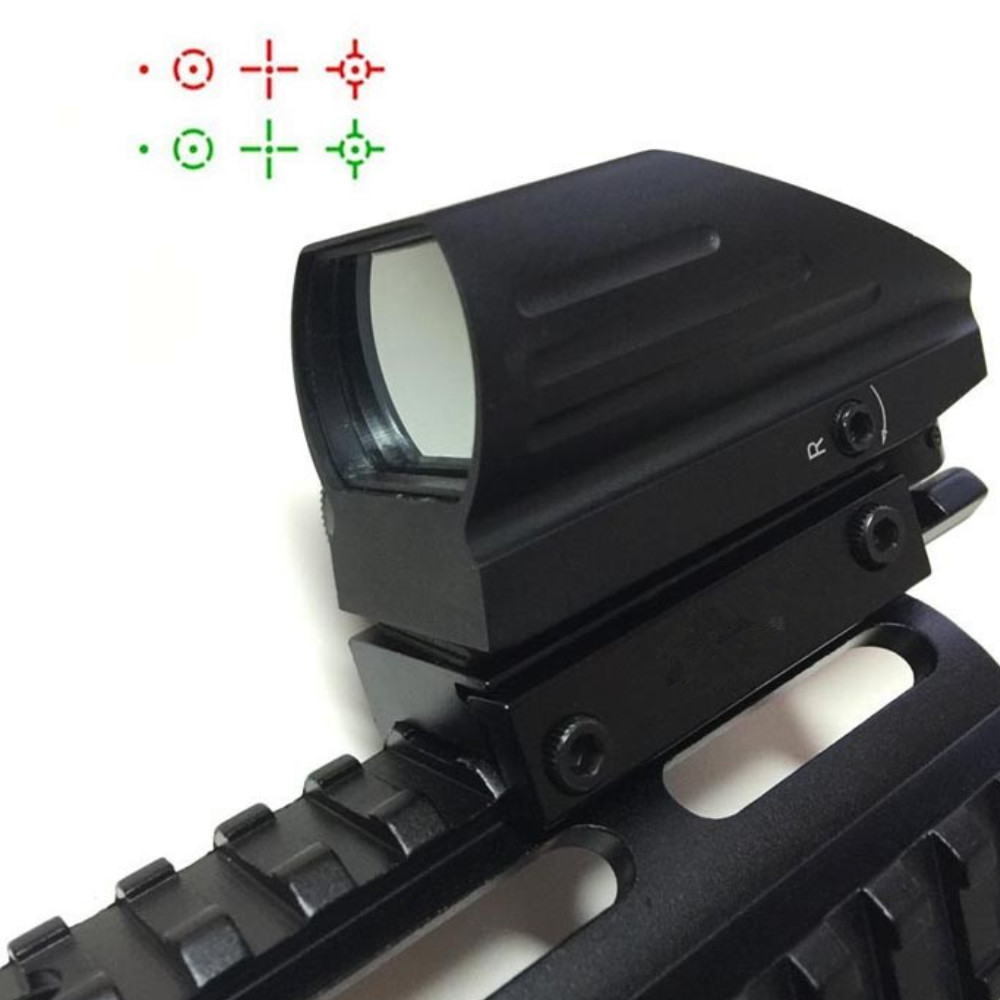 Tactical AK 4 Reticle Holographic Reflex Red/Green Laser Sight Scope Airgun Rifle sight 1x22x33 Reflex Scope 20mm Rail Hunting new 4 reticle tactical reflex red green laser holographic projected dot sight scope airgun rifle sight hunting rail mount 20mm