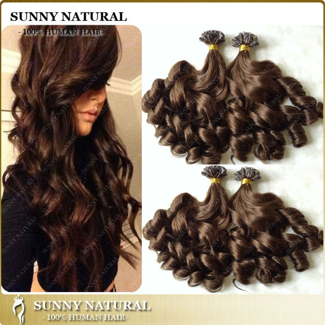 1g Stand Bouncy Curly U Tip Hair Extension Human Hair Prebonded