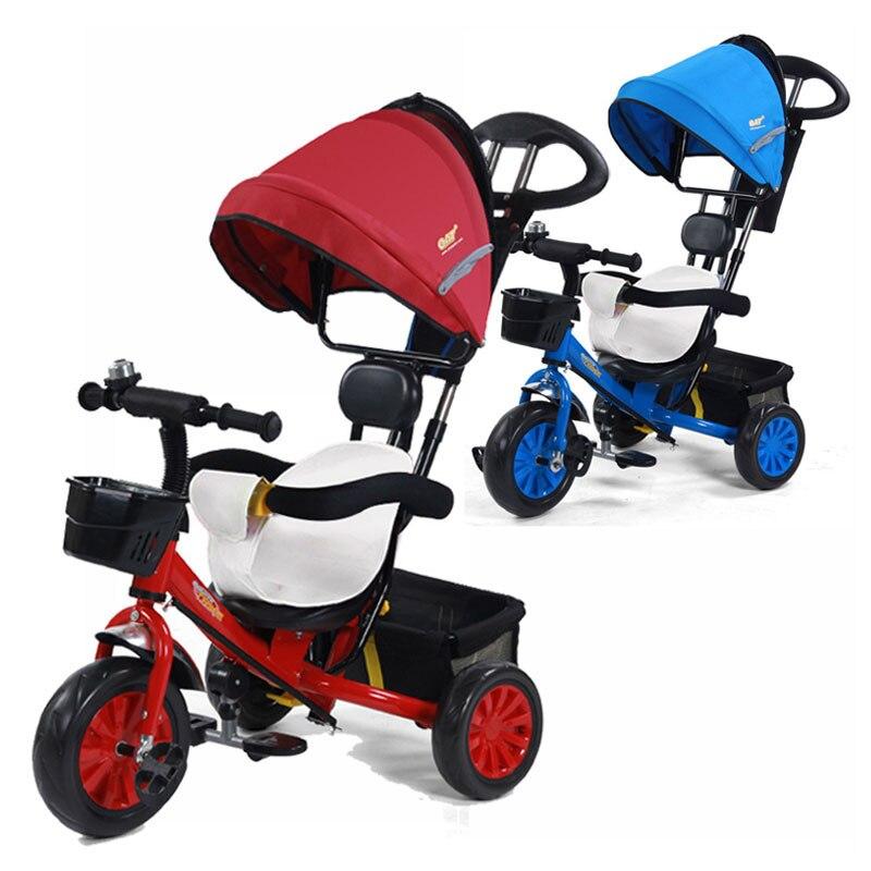 Bébé bambin enfants Tricycle poussette vélo Buggy landau pour enfants coussin amovible trois roues poussette panier inférieur