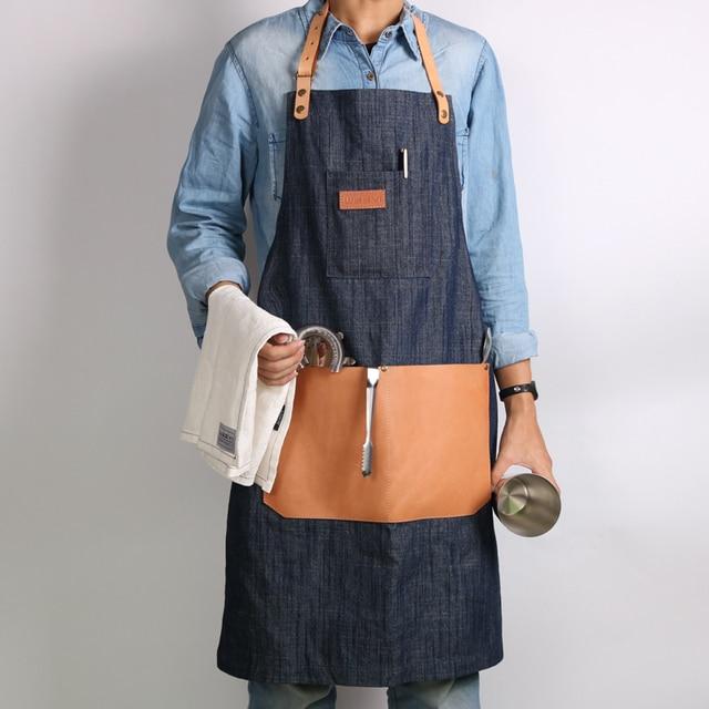 weeyi denim tablier pour hommes avec poche bracelet en cuir dames travail cuisine tablier homme. Black Bedroom Furniture Sets. Home Design Ideas