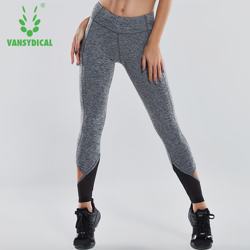 Vansydical Women Sports Leggings Elastic Patchwork Pants for Running Gym Fitness Quick Drying Workout Capris Pantalones Mujer