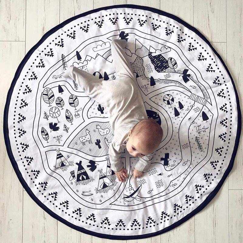 White Kids Room Carpet Round Rugs Play Mat Storage Bag for Children Baby Infant Crawling Mat Road Rugs Floor Carpet Nordic 135CM