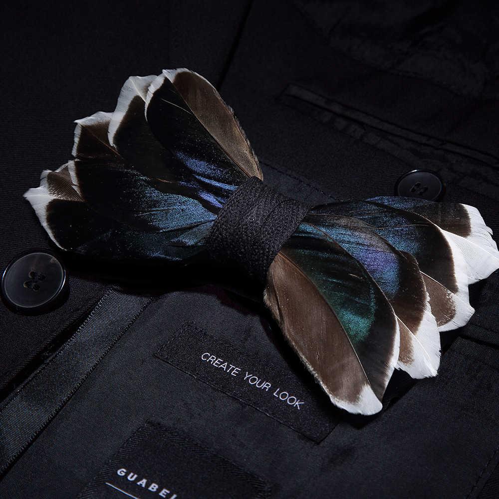 Jerman Desain Asli Pria 'S Dasi Alami Bulu Burung Busur Buatan Kulit Busur Dasi Bros Kayu Kotak Pesta Pernikahan hadiah