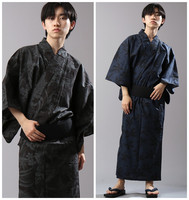 Japanese Warrior Costume Men National Kimono Yukata Cotton Night Gown Bathrobe Performance Clothing 6 Pieces Suit Cosplay Robe