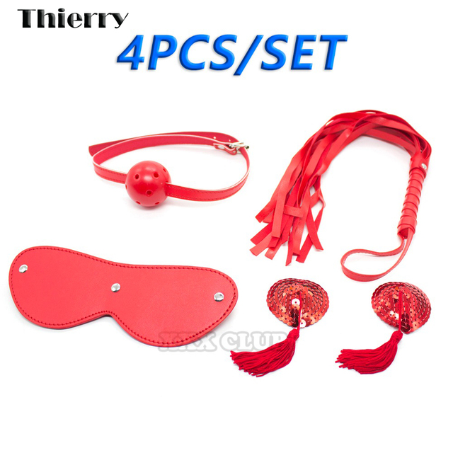 Thierry 4piece/ Set Leather Adult Game Sex products Restraint Bondage,Nipple paste Whip Collar Blindfold sex Toy Couples Sex Toy