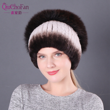 New Fluffy Good Elastic 100% Natural Rex Rabbit Fur Hat Women Winter Knitted Real Sliver Fox Cap Russian Lady Hats
