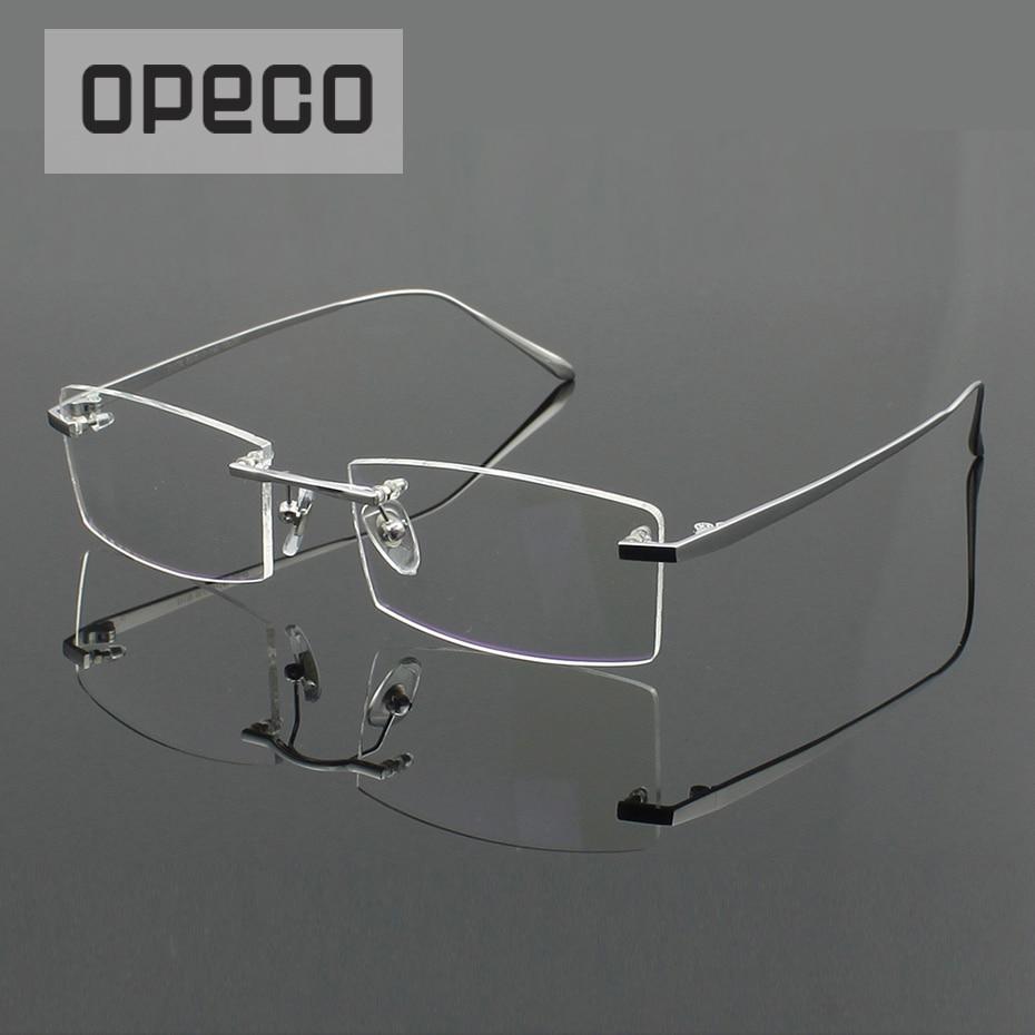 193153cc7fcfb Opeco 100% Pure Titanium Sem Aro dos homens Óculos Óculos de Armação Quadro  masculino Miopia