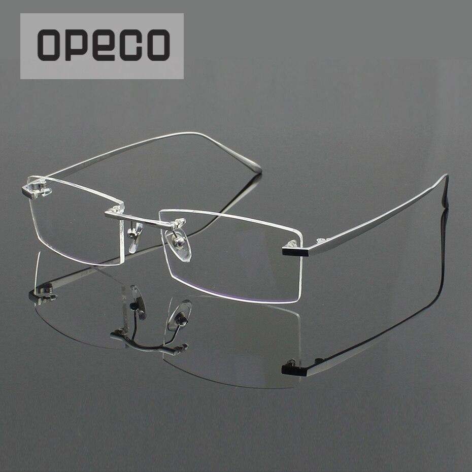 Opeco 100% Pure Titanium Rimless Men's  Eyewear Glasses Frame male Myopia Optical Prescription Eyeglasses Spectacles 1179
